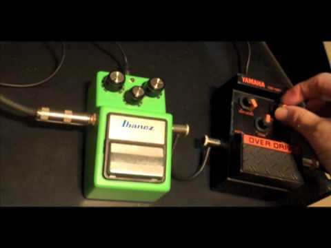 Ibanez Tube Screamer v Yamaha Overdrive OD 10MII 10M2 distortion boost demo vintage shoot out