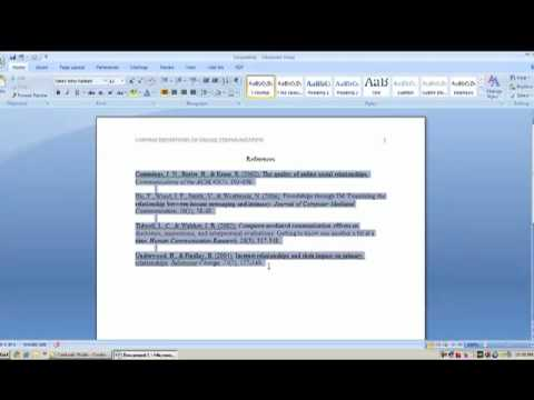 Hanging indentations in Microsoft Word 2007
