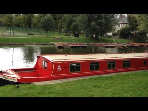 River Cam, Cambridge, England. Narrowboats and Punting.