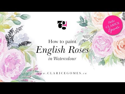 How to paint watercolour English roses - Hello Clarice Tutorials