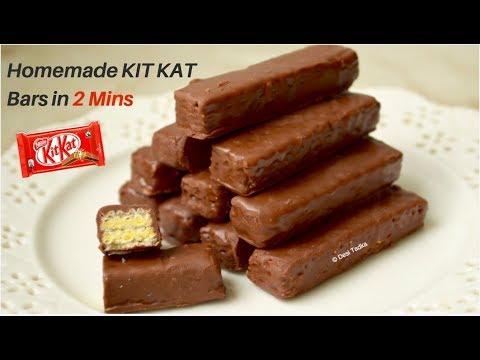 How to make Kit Kat Chocolate (2 ingredients)- घर पर किट केट कैसे बनाये - Homemade kit kat chocolate