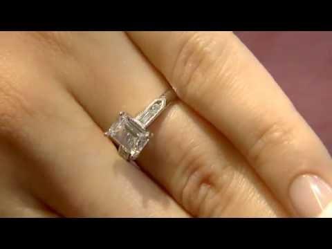 PR1074 Emerald cut diamond engagement ring