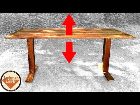 IKEA HACK   Adjustable Height Sit/Stand Walnut Desk