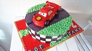Кремово-мастичный торт. Оформляю масляным кремом. Тачки / Cream Cake. Cars / Loracake