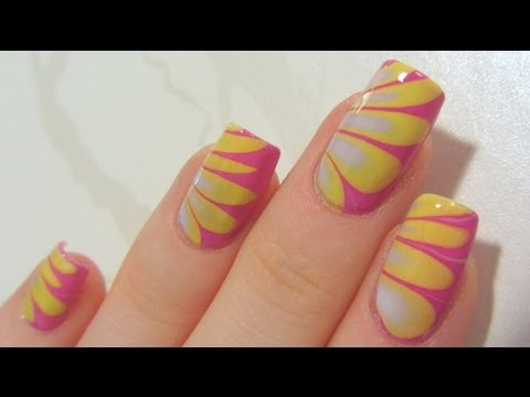Summery Pastel Water Marble with Dark Pink, Lime Yellow & Lavender Nail Art Tutorial
