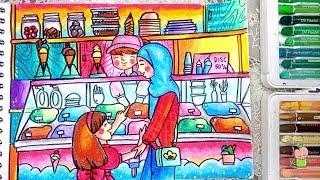 Cara Menggambar Dan Mewarnai Ramadhan Buka Puasa Di Masjid Gradasi
