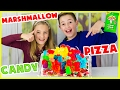 GIANT MARSHMALLOW CANDY PIZZA CHALLENGE! WARHEADS, GUMMY BEARS, SOUR PATCH KIDS