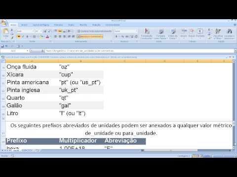 Função CONVERTER no Excel Conversão ou transformação de medidas ou números Sistema unidades no Excel