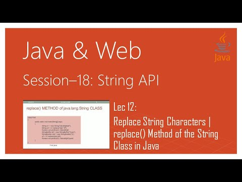 String API in Java | #12 | Replace String Characters | replace() Method of the String Class in Java