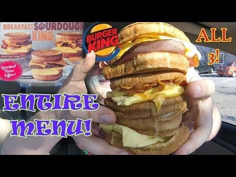 BURGER KING ☆BREAKFAST SOURDOUGH KINGS☆ Entire Menu Food Review!!!