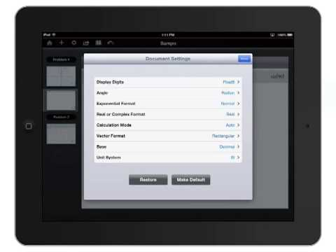 Tutorial: TI-Nspire™ Apps for iPad -- Changing the Settings