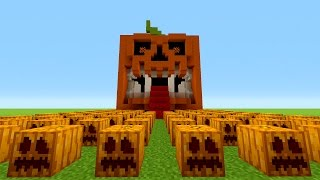 Minecraft How To Make A Scary Pumpkin House Jack O Lantern Tutorial H