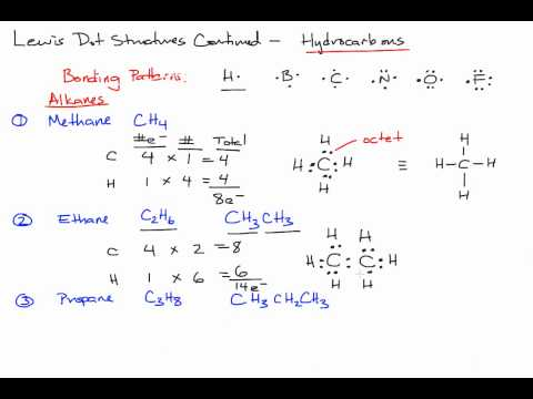 Drawing Lewis Dot Structures of Hydrocarbon Alkanes in Organic Chemistry