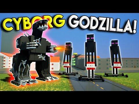 LEGO CYBORG GODZILLA DESTROYS MINECRAFT ENDERMAN ARMY!- Brick Rigs Gameplay Challenge & Creations