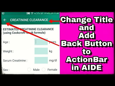 Change Title and add Back button on Action Bar in AIDE
