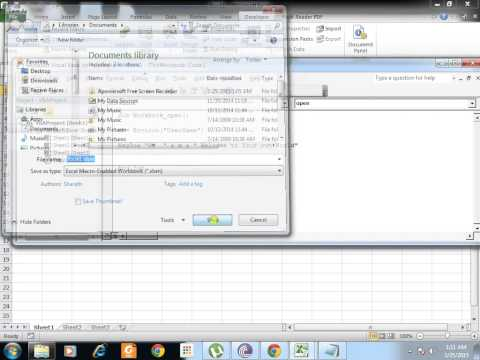 Open Excel with your username message box