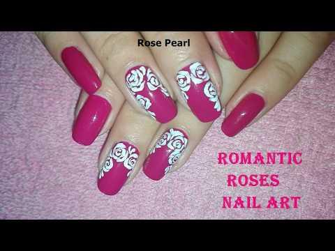 DIY Elegant White Roses on Fuchsia Nail Art Tutorial for Valentine's Day: (No Tools) | Rose Pearl
