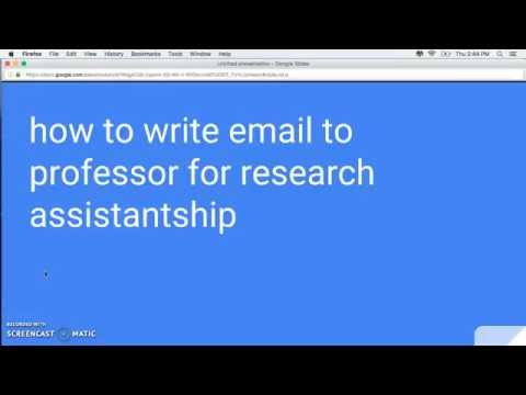 How To Write Email To Professor For Research Assistantship