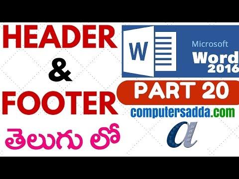 Ms-word 2016 in Telugu 20 (HEADER & FOOTER) (www.computersadda.com)