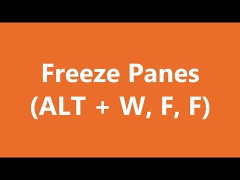 Excel Shortcuts - Freeze Panes