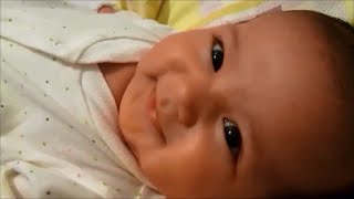 One month old baby talking