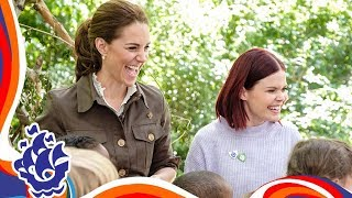 The Duchess of Cambridge joins a group of Blue Peter fans for some fun outdoor activities