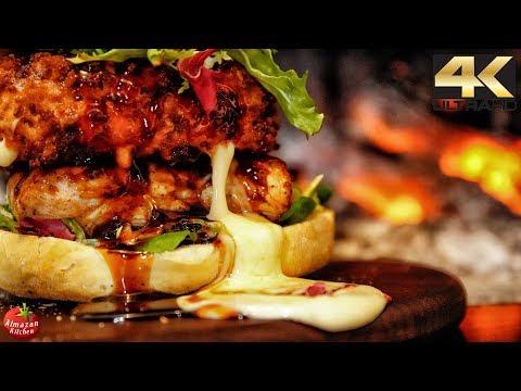 100$ Fried Cheese & Turkey Pronburger! - 4K Primitive Cooking