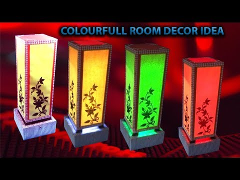 How to make a Table Lamp || Multi-colour  with Remote || DIY Room Decoration ideas 2018 ||