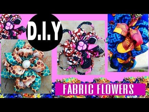 DIY Fabric Flowers African Print 3 TYPES!