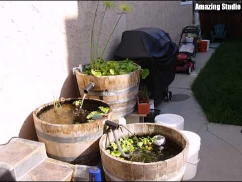 DIY Wine Barrel Fountain Garden Ideas