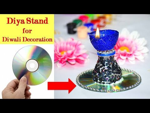 How to make Diya Stand from CD / Candle | DIY Diwali / Christmas Decoration ideas Wall Hanging