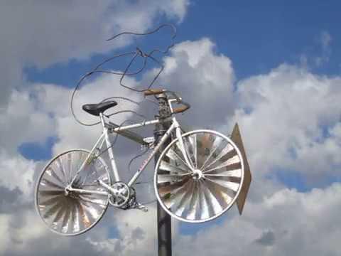 Wind-powered kinetic bicycle art on the Atlanta BeltLine Eastside trail: