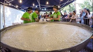 HUGE Pan of Rice with Cheese. Italian Risotto Cooked on The Road. Italy Street Food