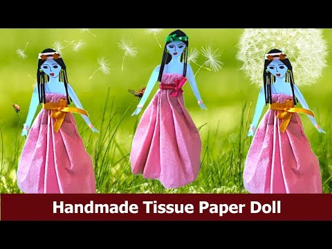 How to make paper doll with tissue paper dress/DIY Dolls /Recycled craft idea/Best out of waste
