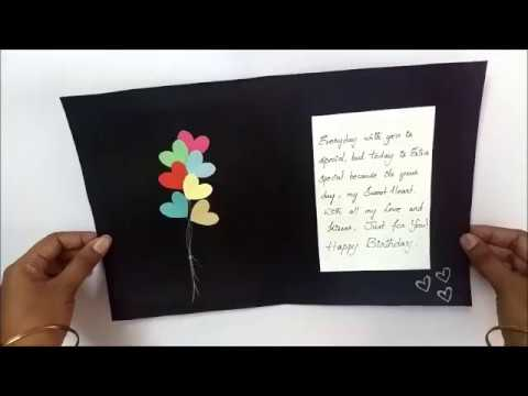 Quick Birthday Card Idea | Birthday greeting card For Girlfriend : complete tutorial