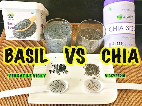 Chia VS Basil | Difference between Chia Seeds & Basil Seeds (Sabja Seeds) | Are Chia Basil Same?