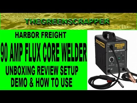 HARBOR FREIGHT 90 AMP WELDER - FLUX CORE WELDERS UNBOXING REVIEW SETUP DEMO & HOW TO USE TO WELD