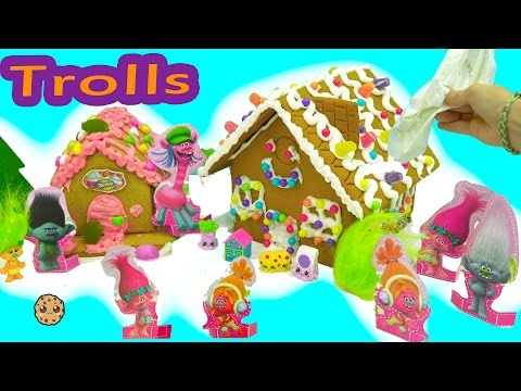 DIY Poppy + Branch Trolls Rainbow Candy Christmas Gingerbread House  Kit - Cookieswirlc Video