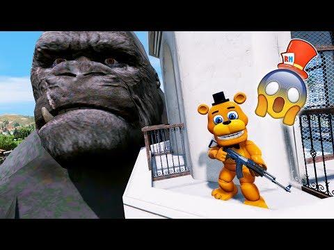 ADVENTURE ANIMATRONICS vs EVIL KING KONG! (GTA 5 Mods For Kids FNAF RedHatter)