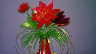 DIY- Recycling Crafts with plastic bottle to convert it into a nice and unique flower vase