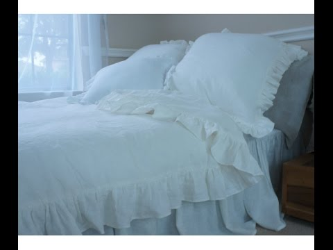Gorgeous Self Ruffled Duvet Covers, Handmade in Natural Linen