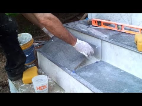 How to Tile An Outdoor Concrete Stairs -  Part 2 - Tile The Horizontal Side - Step By Step