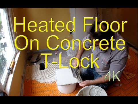Radiant heated floor on concrete Schluter-Ditra Heat Duo with sound control, thermal break. T-Lock