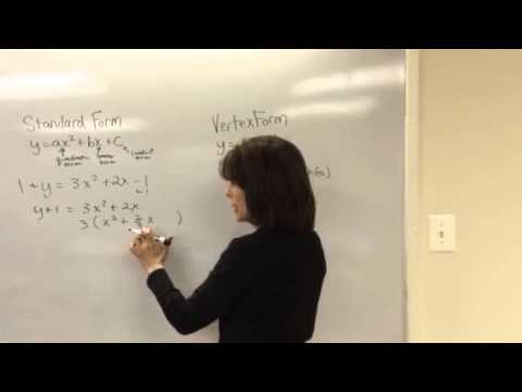 Changing a quadratic equation from standard form to vertex form