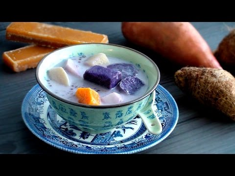 Asian Dessert Soup: Sweet Potato and Taro in Coconut Milk with Tapioca 椰汁番薯芋頭西米露