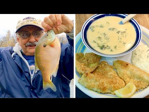 Angling for Asiago Crusted Fish (with low-carb cream of broccoli soup)