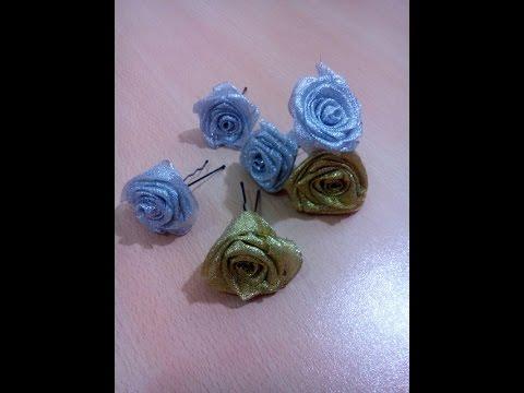DIY How to make a flower hair pins _  كيفية عمل دبابيس الورد لتزيين الشعر