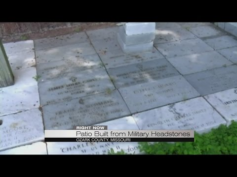 Patio built from military headstones
