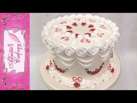 Beautiful One Tier Anniversary Cake. Lambeth Style!