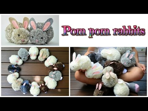 easy crafts: pom pom rabbits - stuffed bunnies DIY - Isa ❤️